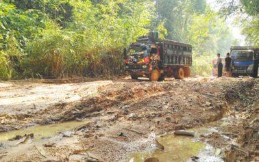 Foto: Kondisi Jalan Penghubung Antar Kecamatan Tumbang Titi dan Jelai Hulu