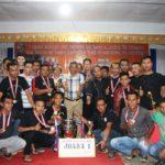 Bupati Martin Rantan SH bersama para juara sepak bola Open Tournament Championship Desa Sandai,.2