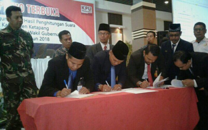 KPU Ketapang Tetapkan Perolehan Suara Pilgub Kalbar 2018