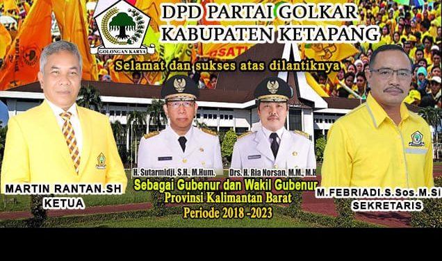 Iklan DPD Golkar Ucapan Pelantikan Gubernur & Wakil Gubernur Kalbar