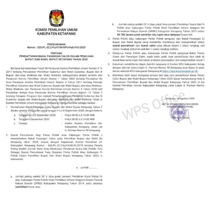 Pengumuman Pendaftaraan Bakal Pasangan Calon Dalam Pemilihan Bupati dan Wakil Bupati Ketapang  Tahun 2020