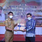 Wabup saat hadir RPJMD) Tahun 2021-2026 yang diselenggarakan Bappeda Ketapang, Senin (05/04/2021)